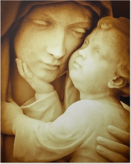 Vintage image of the virgin Mary carrying baby Jesus Poster
