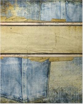 Poster Vintage jeans achtergrond met plaats voor tekst