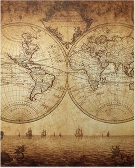 Poster Vintage kaart van de wereld 1733
