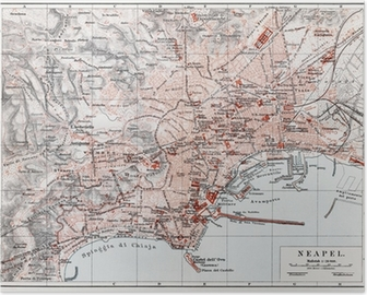Poster Vintage kaart van Napels (Napoli) aan het einde van de 19e eeuw