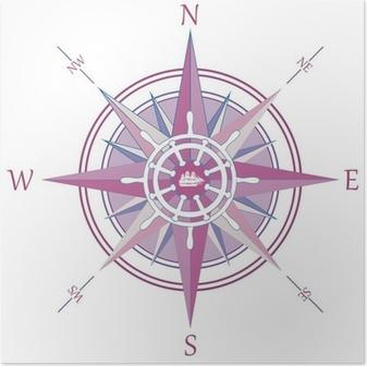 Poster Vintage kompas wind roos