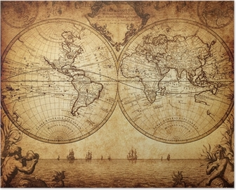 vintage map of the world 1733 Poster