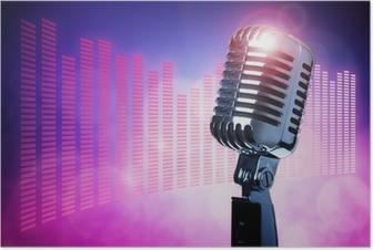 Poster Vintage microfoon op het podium