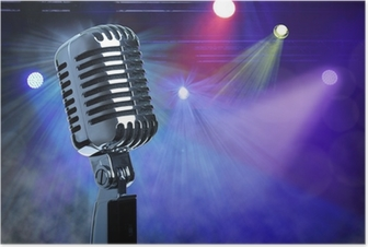 Vintage microphone on stage Poster