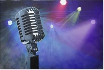 Poster Vintage microphone sur scène
