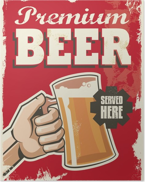Vintage Retro Beer Poster Vector Design Advertising Sign