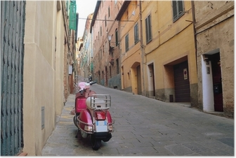 Vintage scene with Vespa on old street, siena, italy Poster