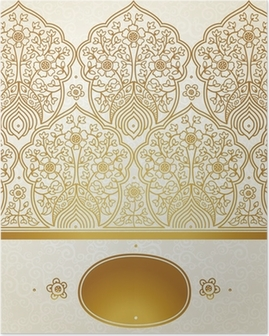 Vintage seamless border with lacy ornament. Poster