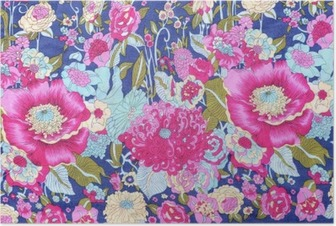 vintage style of tapestry flowers fabric pattern background Poster