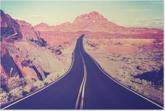 Póster Vintage tonificado carretera del desierto curva, el concepto de viaje, EE.UU.