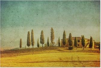 Poster Vintage Toscaanse landschap