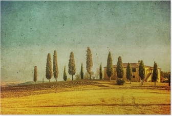 Poster Vintage toskanska landskapet