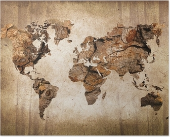 Retro world maps posters pixers vintage wood world map poster gumiabroncs Choice Image