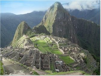 Póster Visión general Machu Picchu. Ciudad Perdida de los incas templo. Perú