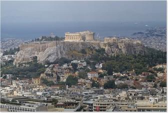 Póster Vista al norte de la Acrópolis Partenón de Atenas Grecia