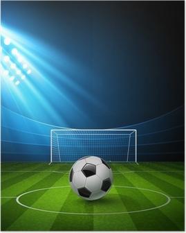 Poster Voetbal arena met een voetbal. Vector