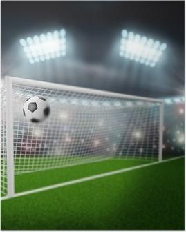 Poster Voetbal bal vliegt in het doel