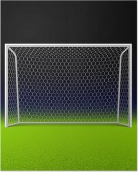 Poster Voetbal doel op zwart
