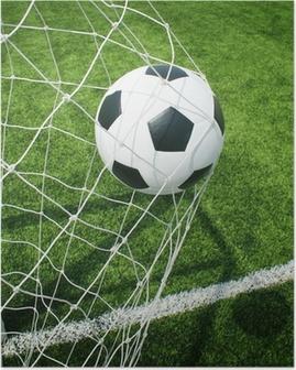 Poster Voetbal voetbalveld stadion gras lijn bal achtergrond textuur