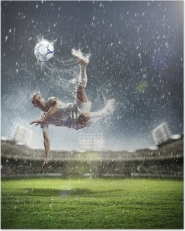 Poster Voetballer de bal te slaan