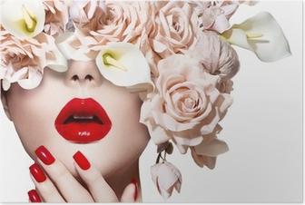 Poster Vogue stijl model meisje gezicht met rozen. Sexy rode lippen en nagels.