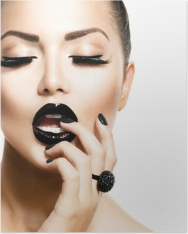 Poster Vogue Style Fashion meisje met trendy Caviar Black Manicure