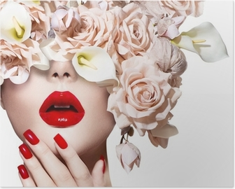 Vogue style model girl face with roses. Red Sexy Lips and Nails. Poster