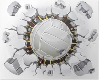 Poster Volley-ball et le Vieux-dommages de la paroi de plâtre. Vector illustration
