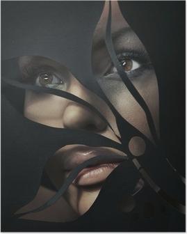 Poster Vormige portret van een mooie vrouw