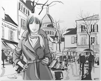 Poster Vrouw in Montmartre plein