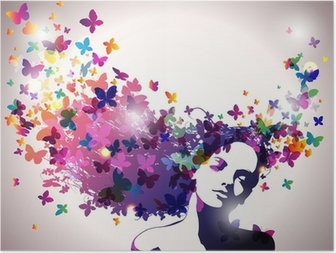 Poster Vrouw met een vlinders in haar.