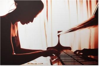 Poster Vrouw spelen piano