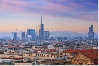 "Poster Vue de l `Milan quartier d'affaires de"" Duomo di Milano ""."