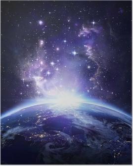 Poster Vue de la Terre depuis l'espace la nuit - USA