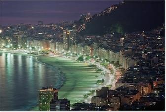 Poster Vue de nuit de la plage de Copacabana. Rio de Janeiro
