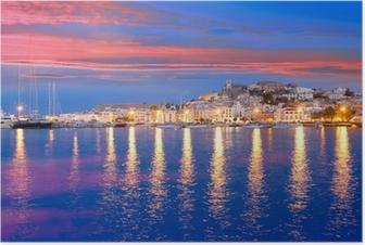Poster Vue Ibiza Eivissa nuit île de ville
