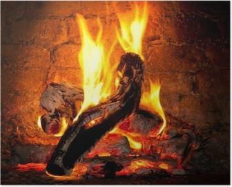 Poster Vuur brandend in de open haard