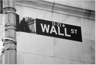 Poster Wall Street verkeersbord in de hoek van de New York Stock Exchange