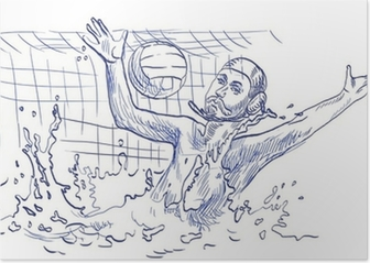 water polo, goalkeeper - hand drawing Poster