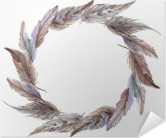Watercolor brown gray grey feather wreath isolated Poster