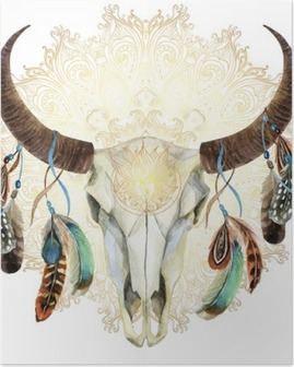 watercolor cow skull with feathers Poster