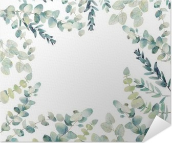 posters watercolor eucalyptus card design hand painted floral round frame isolated on white background