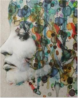 Watercolor female profile Poster