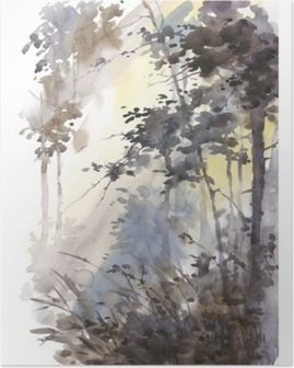 Watercolor hand painted abstract landscape, deep forest, threes in sunshine. Poster