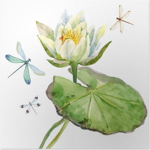 Watercolor lotus flower poster pixers we live to change watercolor lotus flower poster plants and flowers mightylinksfo
