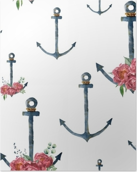 Watercolor pattern with anchor and peony flower. Hand painted vintage nautical illustration with floral decor isolated on white background. For design, print or background Poster