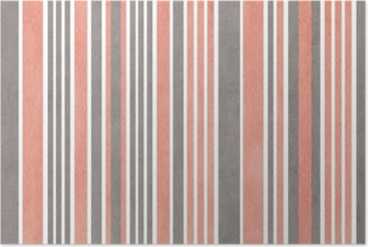 Watercolor pink and grey striped background. Poster