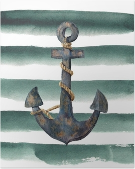 Watercolor retro anchor with rope on striped background. Vintage illustration isolated on white background. For design, prints or background Poster