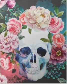 Watercolor skull Poster