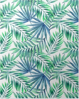 Watercolor tropical leaves seamless pattern Poster